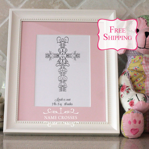 Baby Girl Cross gift by Name Crosses - www.namecrosses.com