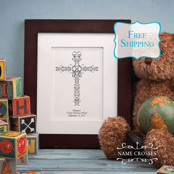 Baptism Boy Personalized Cross