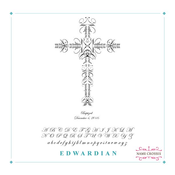Baptism Personalized Cross for Boys Edwardian