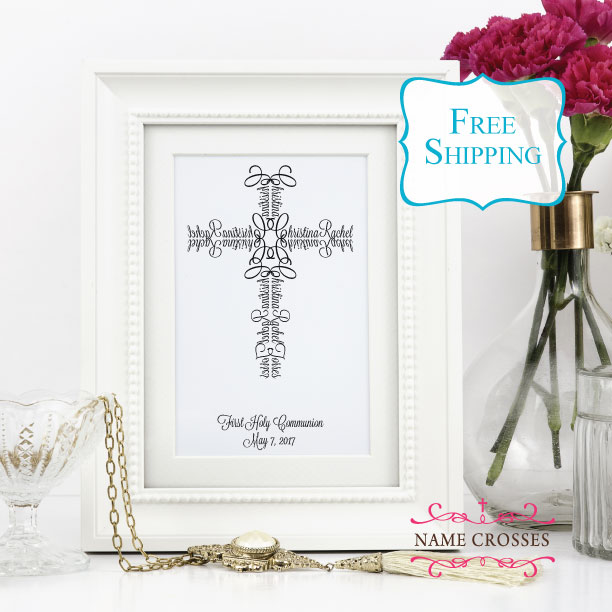 First Communion Cross for girls by Name Crosses - www.namecrosses.com