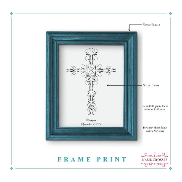 Name Cross Frame Print Trim Option