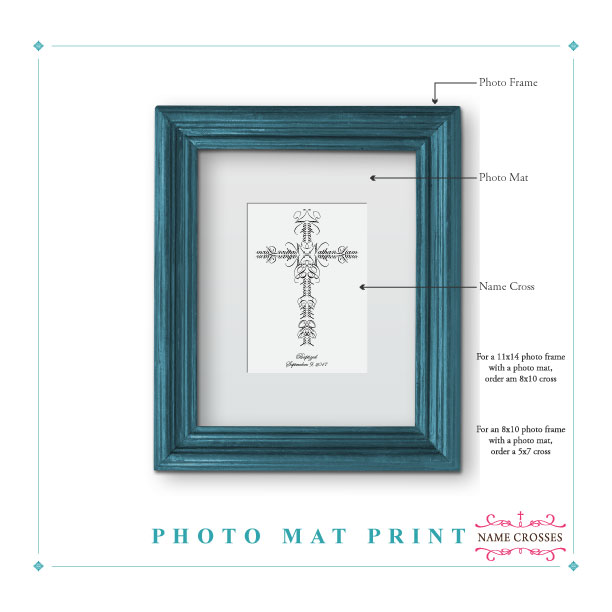 Name Cross Photo Mat Trim Option