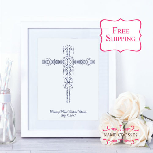 First Communion gift boy by Name Crosses www.namecrosses.com